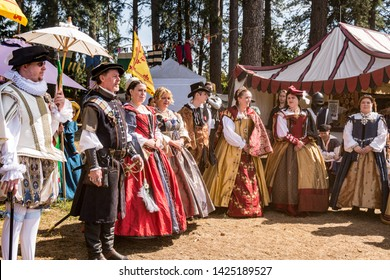 Canby, Oregon - June 9, 2019: The Queen and her court followers at the Renaissance Fair.