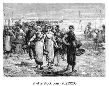 The Cancale, the boats return, statement of Eugene Feyen. - Drawing Sellier, vintage engraved illustration. Magasin Pittoresque 1875.