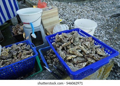 CANCALE, FRANCE -30 DECEMBER 2016- Oysters for sale outside in Cancale, located on the coast of the Atlantic Ocean on the Baie du Mont Saint Michel, in the Brittany region of Western France.