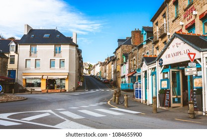 CANCALE, FRANCE - OCTOBER 6, 2009: Street with hotels and shops in Cancale famous for its oyster farm and market