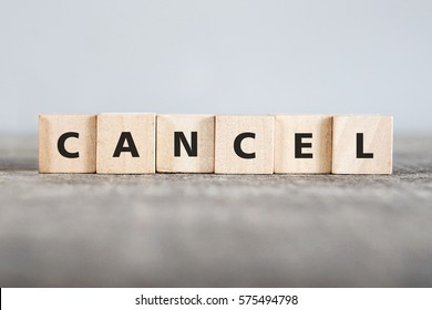 CANCEL word made with building blocks