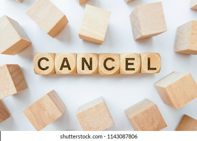 Cancel word on wooden cubes