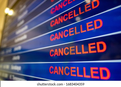 Cancelled flights at airport due to the Coronavirus