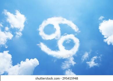 Cancer cloud zodiac sign on sky.