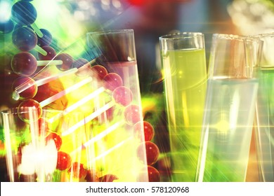 Cancer immunotherapy research concept cancer gene therapy with DNA background and test tubes