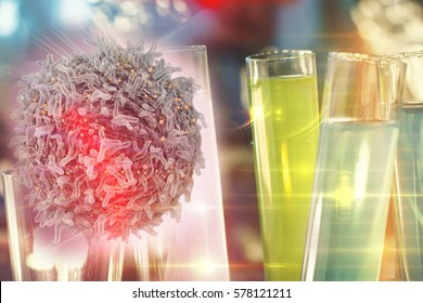 Cancer immunotherapy research concept cancer gene therapy with cancer cell and test tube