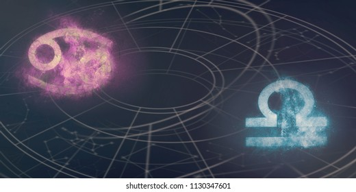 Cancer and Libra horoscope signs compatibility. Night sky Abstract background.