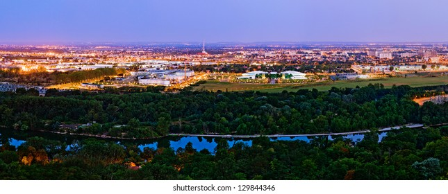 Canceropole cancer treatment and investigation center and Garonne river in Toulouse, France, morning view from Pech David height
