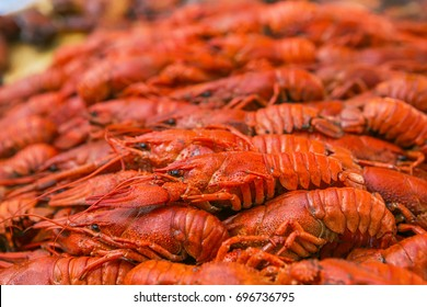 Cancers. Boiled red crawfish. Crawfish ready to eat. Beer snack. Crayfish to beer.