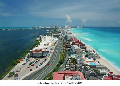 Cancun aerial view