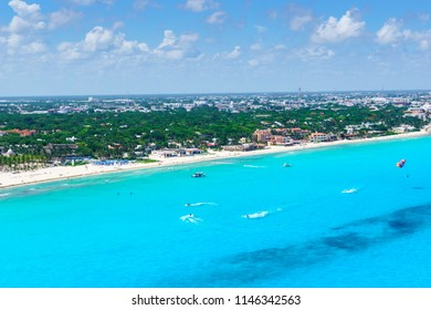 Cancun aerial view of the beautiful white sand beaches and blue turquoise water of the Caribbean ocean.