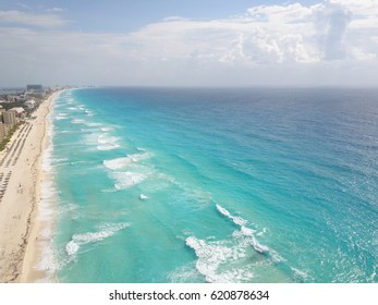 Cancun aerial view of  the beautiful white sand beaches and blue turquoise water of the Caribbean ocean