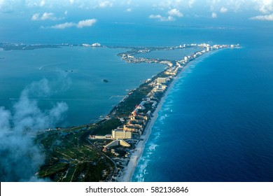 Cancun aerial view panorama landscape from airplane