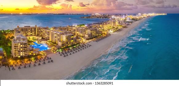 Cancun beach during sunset