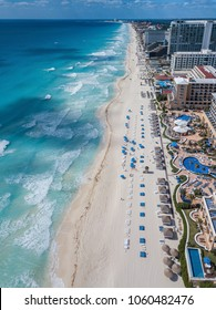 Cancun beach sunset beach from drone vertical