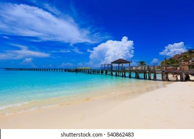 Cancun Blue Ocean Beach in a beautiful sunny day