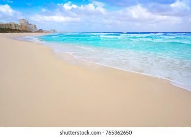 Cancun caribbean white sand beach in Mayan Riviera of Mexico