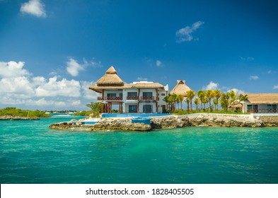 Cancun - Isla Mujeres, June 13 2013: Beautiful view of the coast of the island of Isla Mujeres.