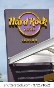 Cancun, Mexico - 12 January 2015: Hard Rock Cancun Hotel sign at the entrance