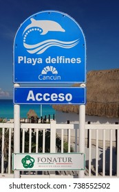 CANCUN, MEXICO -15 JUL 2017- View of the Playa Delfines, a white sandy beach in Cancun, Mexico.