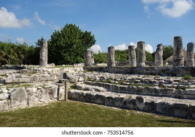 CANCUN, MEXICO -15 JUL 2017- View of the El Rey archeological ruins (Las Ruinas del Rey) located in the Hotel Zone in Cancun, Mexico.