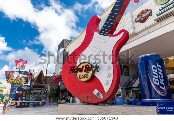 CANCUN, MEXICO - 29 October  2015:  The Forum by the sea plaza at Zone Hotelera