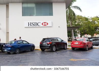 Cancun, Mexico, 9 February 2016: HSBC bank entrance at Plaza Holywood. HSBC Holding is the fifth largest bank by total assets in the world