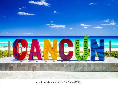 Cancun, Mexico - April 2019: Yucatan Riviera Maya with Playa Delfines.