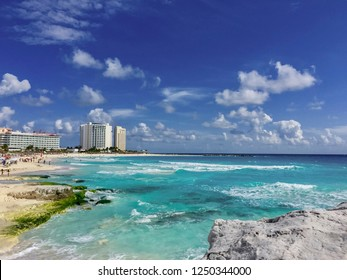 Cancun Mexico beautiful caribbean sea on a sunny day and cloudy sky