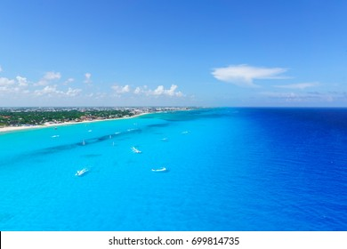 Cancun Mexico from birds eye view Cancun's beaches with hotels and turquoise Caribbean sea.