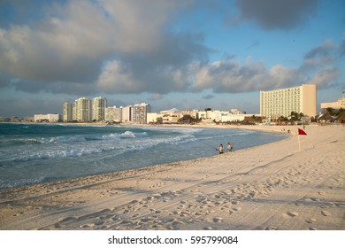 Cancun, Mexico, circa january 2017: Caracol beach view from turquoise Caribbean sea summer vacation destination