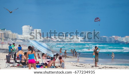 cancun mexico december 29 2016 christmas vacations on a mexican caribbean coast