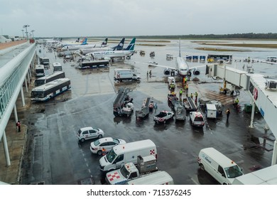 CANCUN, MEXICO - FEB 24, 2016: Airplanes at Cancun International Airport, Mexico