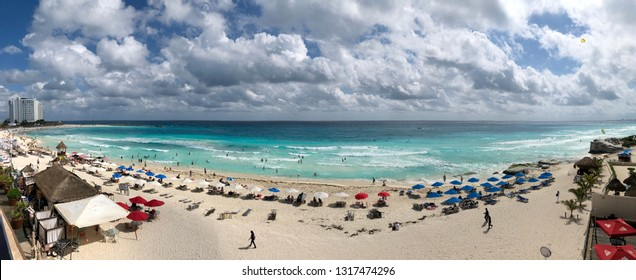 Cancun, Mexico - January 02 2019: panoramic view of the Caribbean beach in the Mayan Riviera in the city of Cancun