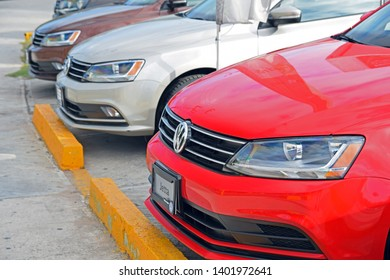Cancun, Mexico - January, 05, 2018: Volkswagen cars in the row in exhibition point.