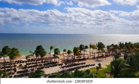 CANCUN, MEXICO - JANUARY 10, 2019: A resort beach in Cancun, Mexico.
