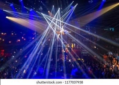 CANCUN, MEXICO - JANUARY 19, 2018: Unidentified people in famous Coco Bongo, Cancun, Mexico