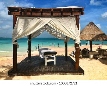 Cancun, Mexico - January 27, 2018: On a beach in Cancun.Cancun, a Mexican city on the Yucatan Peninsula bordering the Caribbean Sea, is known for its beaches, numerous resorts and nightlife.