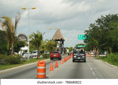 CANCUN, MEXICO - JANUARY 6, 2018: Mexican Federal Police check point  just south of Cancun in Mexico