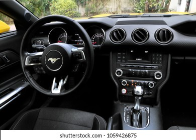 Cancun, Mexico - June 3, 2017: Interior of the sports car Ford Mustang.