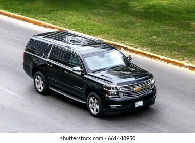 CANCUN, MEXICO - JUNE 3, 2017: Motor car Chevrolet Suburban in the city street.
