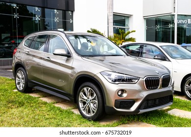 CANCUN, MEXICO - JUNE 4, 2017: Motor car BMW X1 (F48) in the city street.