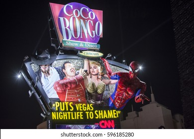 CANCUN, MEXICO - MARCH 1, 2017: The lively Coco Bongo billboard in Cancun's party zone convincingly promotes their high quality entertainment.