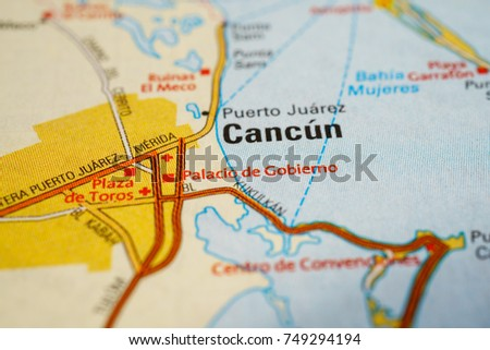 Cancun Mexico On Map Stock Photo Edit Now 749294194 Shutterstock