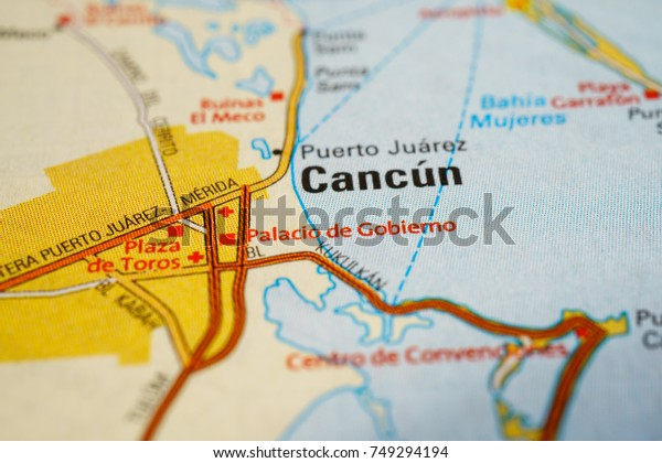 puerto juarez cancun map Cancun Mexico On Map Stock Photo Edit Now 749294194 puerto juarez cancun map