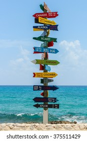 Cancun, Quintana Roo - Mexico - August 2012 - Arrows that shows the distance between countries
