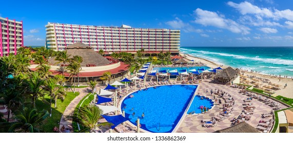 Cancun, Quintana Roo/Mexico - 02 20 2019: Crown Paradise Club resort in Cancun Hotel Zone