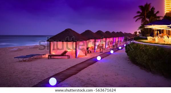 Cancun resort blue hour