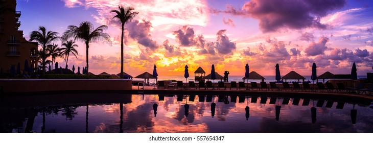 Cancun Resort with pink clouds