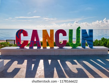 Cancun sign in front of Playa Delfines in the Caribbean Sea , Cancun,Mexico, in September 7, 2018